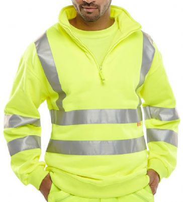 B Seen Hi Vis Zip Neck Sweatshirt